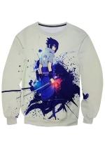 Womens Uchiha Sasuke Printed Pullover Sweatshirt Sapphire Blue
