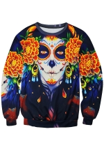 Womens Floral Skull Printed Long Sleeve Pullover Sweatshirt Orange