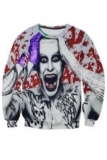 Womens Crazy Man Printed Long Sleeve Pullover Sweatshirt Gray