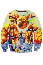 Womens Strong Cat Printed Long Sleeve Pullover Sweatshirt Yellow