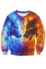 Womens Wolf Printed Long Sleeve Pullover Sweatshirt Blue