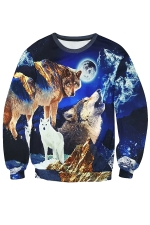 Womens Pullover Wolf Printed Long Sleeve Sweatshirt Navy Blue