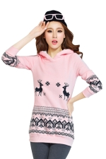 Womens Reindeer Printed Long Sleeve Christmas Hoodie Pink