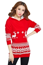 Womens Reindeer Printed Long Sleeve Christmas Hoodie Red