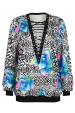 Womens Lace-up V Neck Floral Printed Long Sleeve Sweatshirt Blue