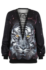 Womens Lace-up V Neck Tiger Printed Long Sleeve Sweatshirt Gray