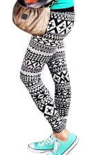 Womens Printed Ankle Length Pencil Leggings Black