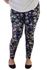 Womens Elastic Floral Printed Ankle Length Leggings Black