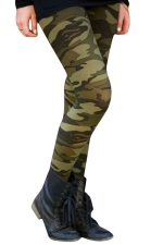 Womens Elastic Camouflage Printed Ankle Length Leggings Army Green