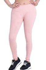 Womens Plain Elastic High Waist Ankle Length Leggings Light Pink