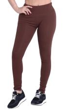 Womens Plain Elastic High Waist Ankle Length Leggings Coffee