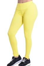 Womens Plain Elastic High Waist Ankle Length Leggings Yellow