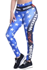 Womens Star Letter Printed High Waist Ankle-Length Leggings Blue
