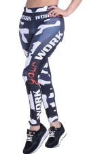 Womens Camouflage Letter Print High Waist Ankle-Length Leggings Black