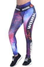 Womens Galaxy Letter Printed High Waist Ankle-Length Leggings Purple