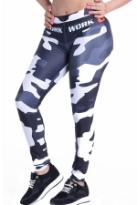 Womens Camouflage Printed High Waist Ankle-Length Leggings Black