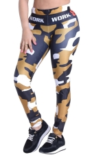 Womens Camouflage Printed High Waist Ankle-Length Leggings Brown