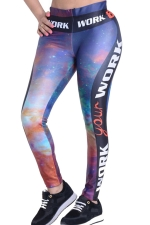 Womens Galaxy Side Latter Printed High Waist Leggings Navy Blue