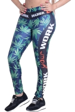 Womens Leaf Side Latter Printed High Waist Leggings Navy Blue