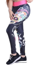 Womens Floral Skull Printed High Waist Leggings Rose Red