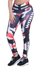 Womens Camouflage Printed High Waist Ankle-Length Leggings Red