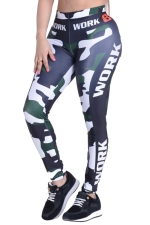 Womens Camouflage Printed High Waist Ankle-Length Leggings Green