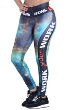 Womens Galaxy Side Latter Printed High Waist Leggings Blue