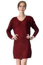 Womens V Neck Long Sleeve Pullover Plain Sweater Dress Ruby