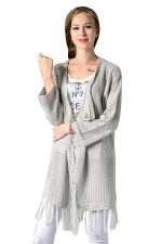 Womens Fringe Long Sleeve Hollow Out Plain Cardigan Sweater Light Gray