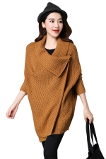 Womens Knitted Asymmetric Long Sleeve Plain Cardigan Sweater Camel