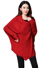 Womens Knitted Asymmetric Long Sleeve Plain Cardigan Sweater Red