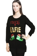 Womens Ugly Xmas Sequined Patterned Pullover Long Sleeve Sweater Black