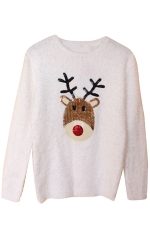 Womens Ugly Reindeer Patterned Pullover Christmas Sweater White