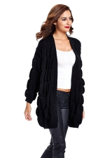 Womens Loose Long Sleeve Plain Cardigan Sweater Black