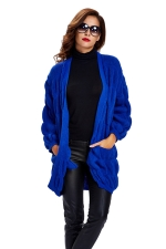 Womens Loose Long Sleeve Plain Cardigan Sweater Sapphire Blue