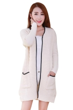 Womens Cable Knitted Pockets Sides Slit Cardigan Sweater Beige White