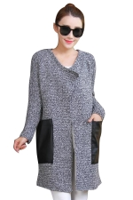 Womens Patchwork Pockets Long Sleeve Cardigan Sweater Dark Gray
