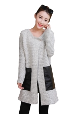 Womens Patchwork Pockets Long Sleeve Cardigan Sweater Light Gray