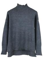 Womens Mock Neck High-low Long Sleeve Plain Pullover Sweater Dark Gray
