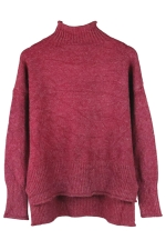 Womens Mock Neck High-low Long Sleeve Plain Pullover Sweater Ruby