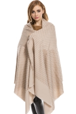 Womens Thick Eyelash Tassel Plaid Patterned Shawl Scarf Khaki