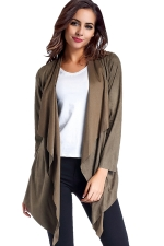 Womens Asymmetric Micro?Suede?Long Sleeve Plain Trench Coat Army Green