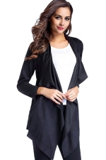 Womens Asymmetric Micro?Suede?Long Sleeve Plain Trench Coat Black