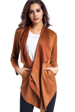 Womens Asymmetric Micro?Suede?Long Sleeve Plain Trench Coat Camel