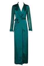 Womens Turndown Collar Long Sleeve Plain Maxi Trench Coat Green