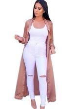 Womens Turndown Collar Long Sleeve Plain Maxi Trench Coat Khaki