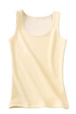 Womens Lined Warm U-neck Plain Sleeveless Tank Top Beige