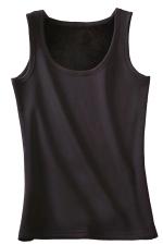 Womens Lined Warm U-neck Plain Sleeveless Tank Top Black
