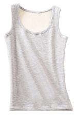 Womens Lined Warm U-neck Plain Sleeveless Tank Top Light Gray