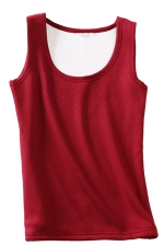 Womens Lined Warm U-neck Plain Sleeveless Tank Top Ruby